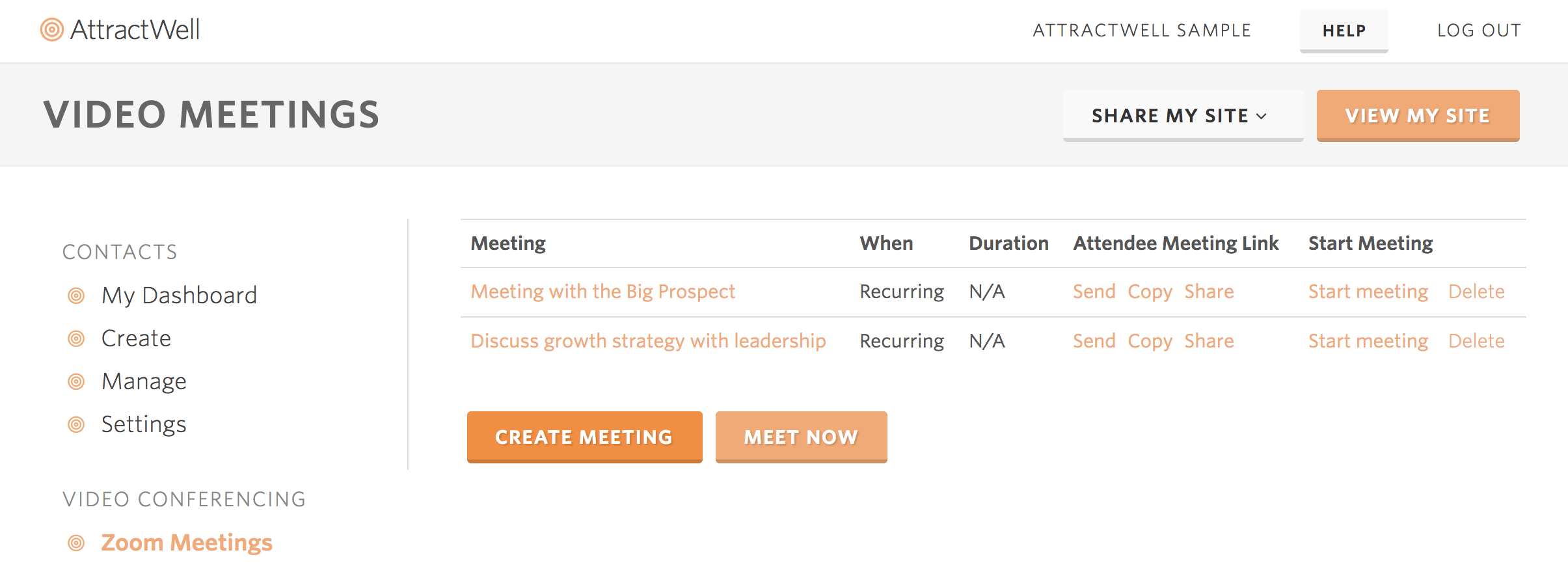 AttractWell Zoom video meetings built-in