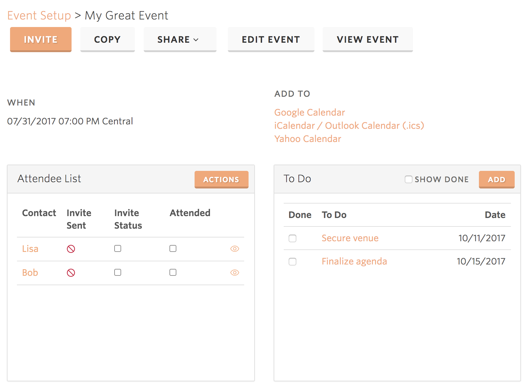 AttractWell Event Management & RSVP System